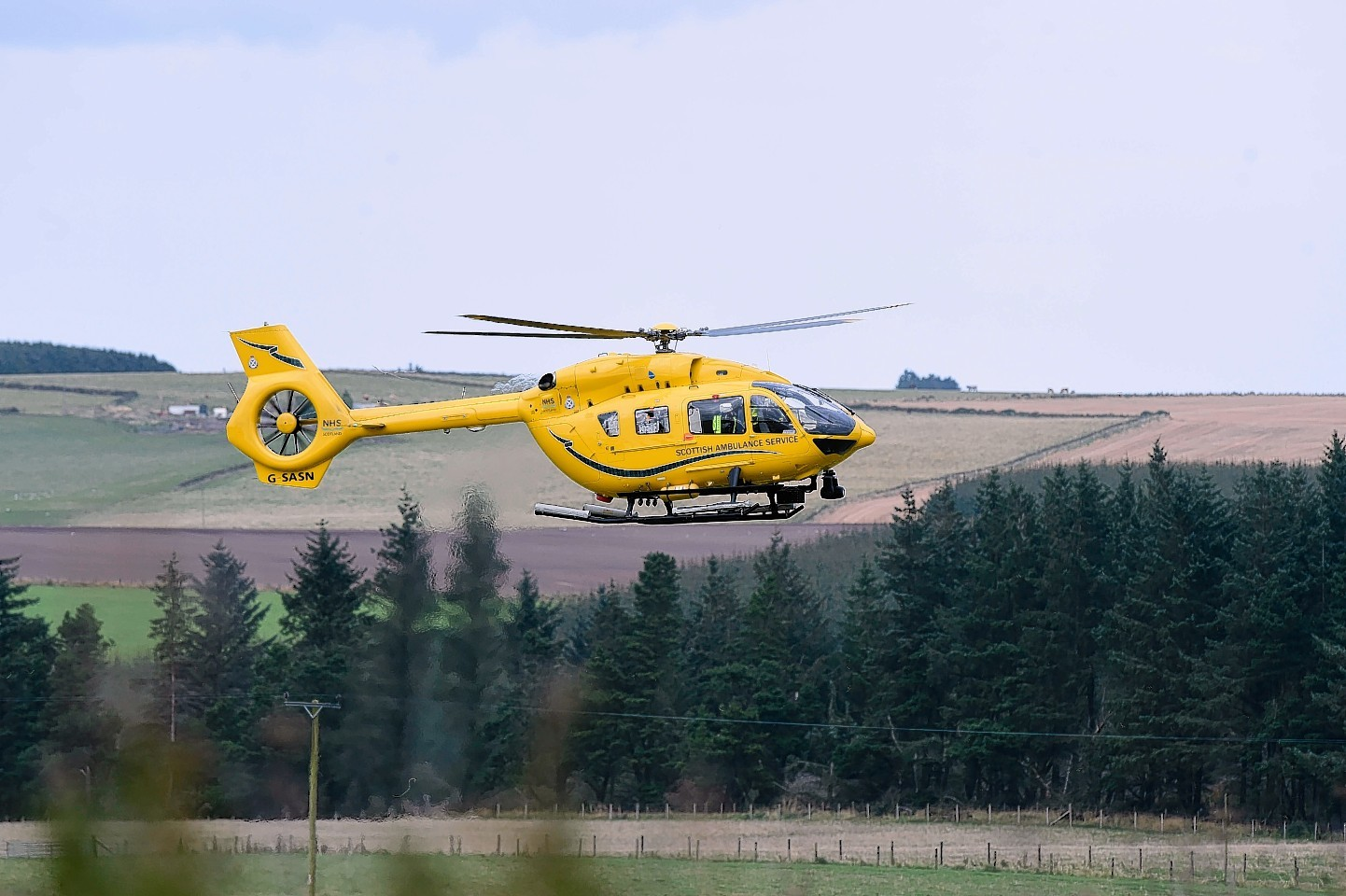 The air ambulance departs the A98