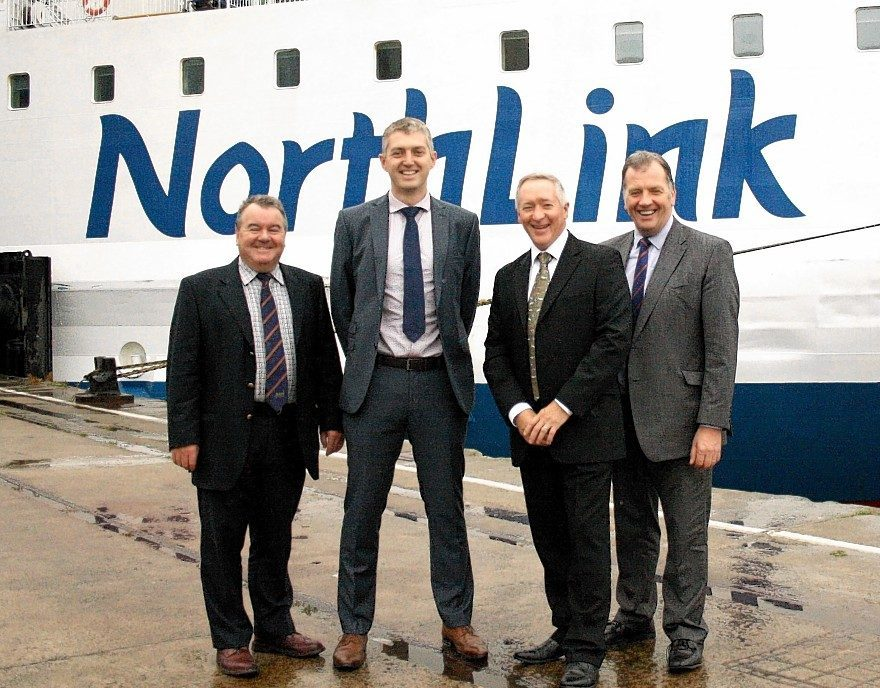Alan Hutcheon from ANM, Kris Bevan and Stuart Garrett from NorthLink Ferries, and John Gregor from ANM.