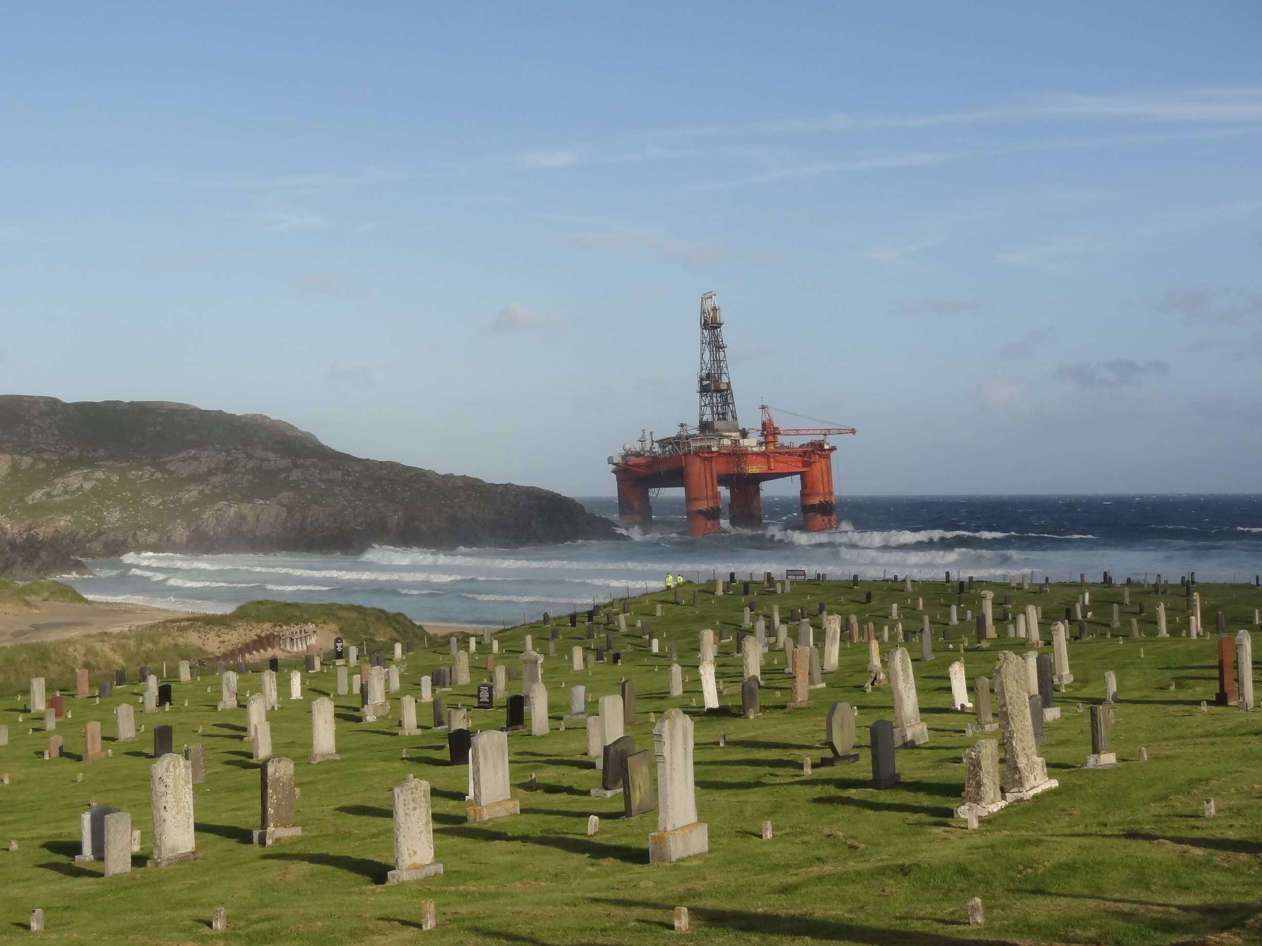 The oil rig has come ashore at Dalmore, Lewis