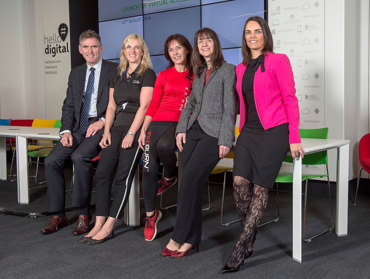 Left to right,  Ross McEwan  RBS, Lucy Rose Walker CEO, Entrepreneurial Spark, Diane Teo  CEO Extreme Fatburn, Donna Chisholm HIE, Paula Skinner Harper Macleod