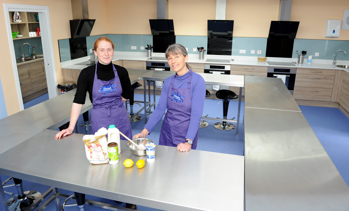 Ailish Carroll-Brentnall, left, and Donna Breen, right, health promoting youth workers, in the new training kitchen at Elgin Youth Cafe in Francis Place, Elgin. Picture by Gordon Lennox.