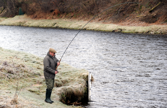 Fishing at Kinermony Estate on River Spey at Aberlour.