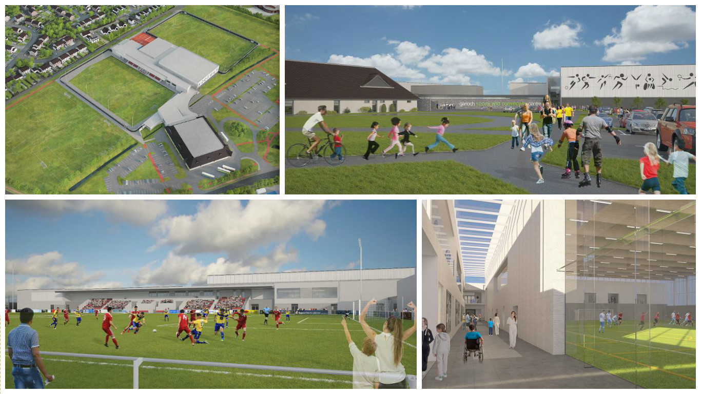 Artists impressions of the proposed Garioch Sports and Community Centre.