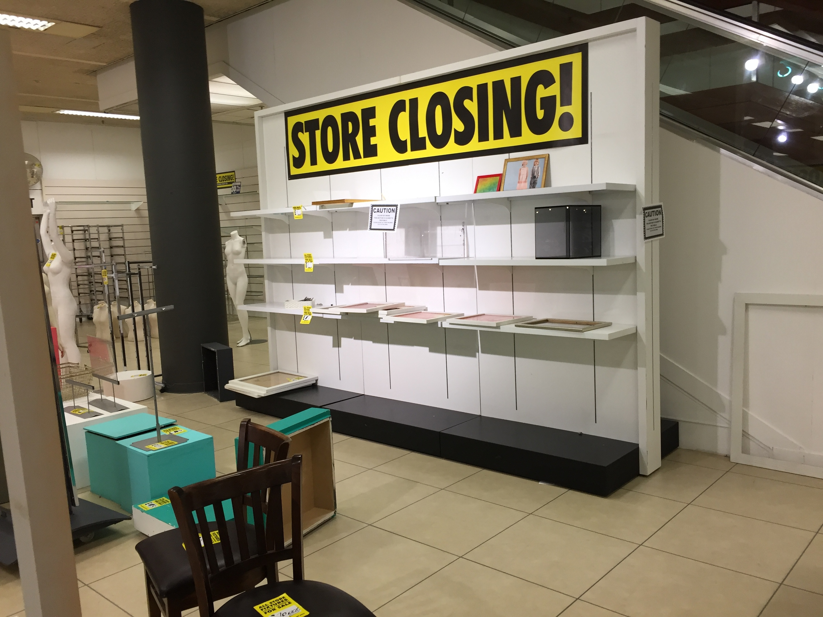 The store is almost empty will bargain hunters clearing the rails