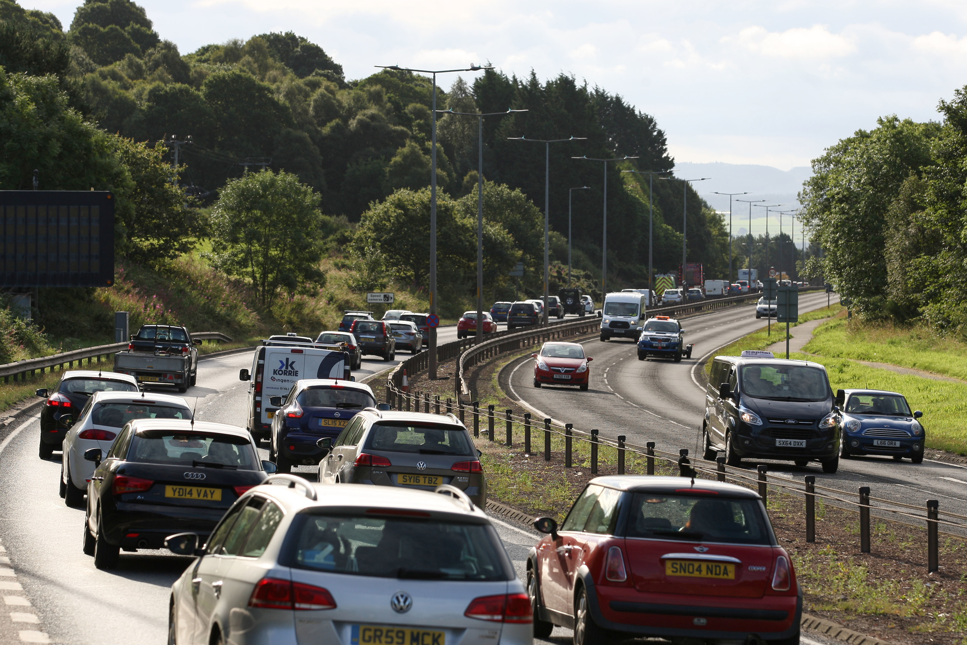 There were long queues on the southbound approach to the Kessock Bridge