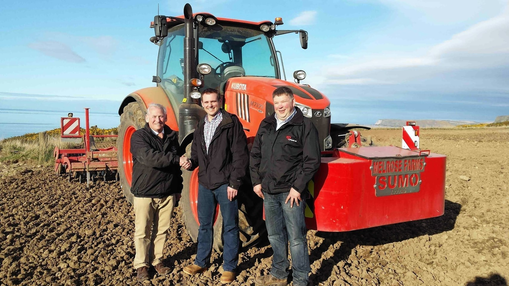 Richard Cheesbrough from Kubota with Chris Powell and Paddy Neville from CC Powell.