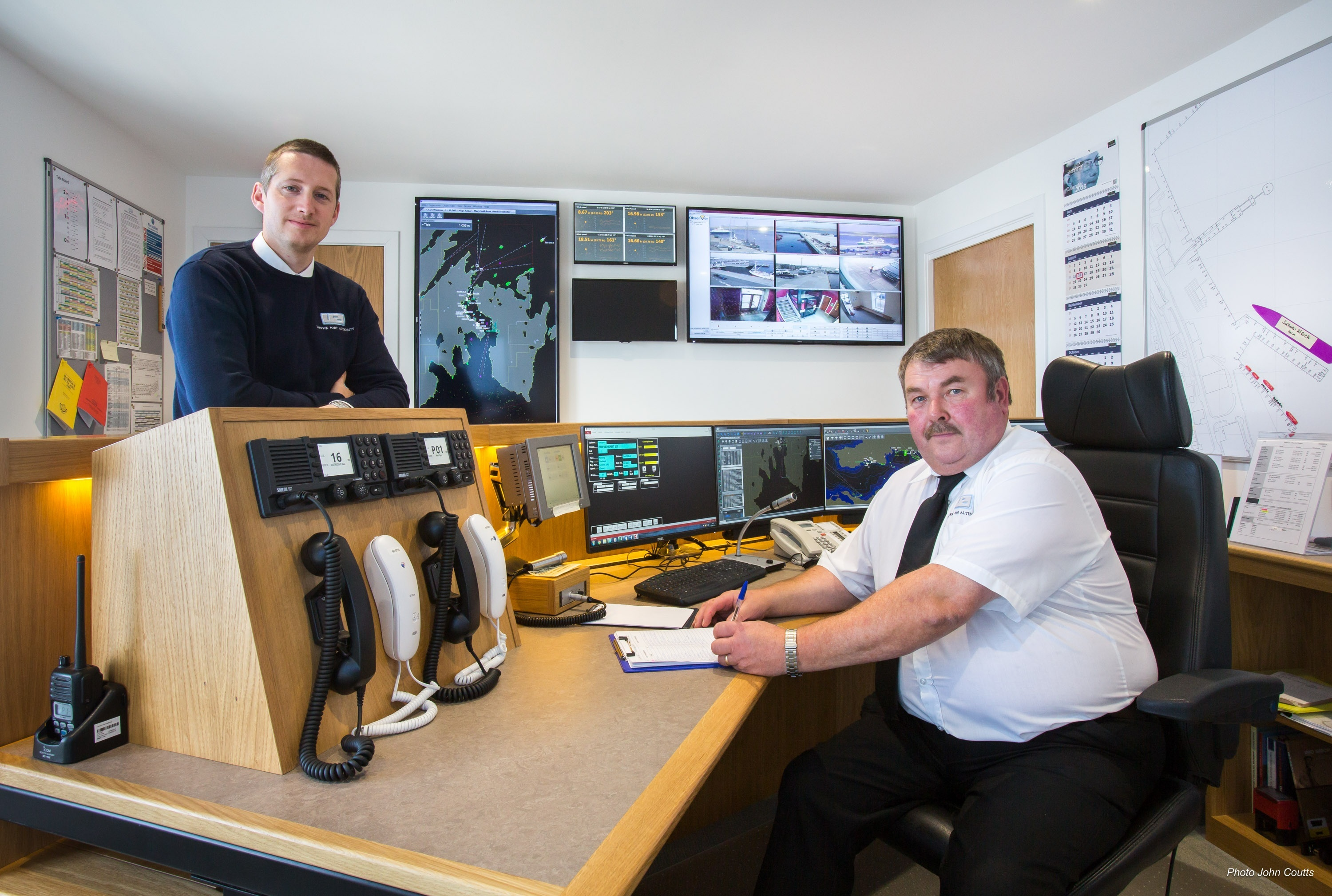 Deputy harbourmaster Alexander Simpson and port controller Douglas Garrick in Lerwick Harbour's new control room.