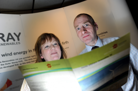 Buckie councillor Sonya Warren and Craig Milroy from Moray Offshore Renewables at the public consultation in the town's Marine Hotel.