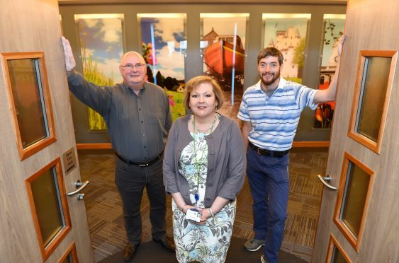 Ex-oil and gas workers Bob Forsyth (left) and Russell Bolton with Maria Walker, Director of Education & Children Services, attending a Aberdeenshire Council scheme aimed at getting them into teaching jobs, held at Woodhill House.  Picture by Kevin Emslie