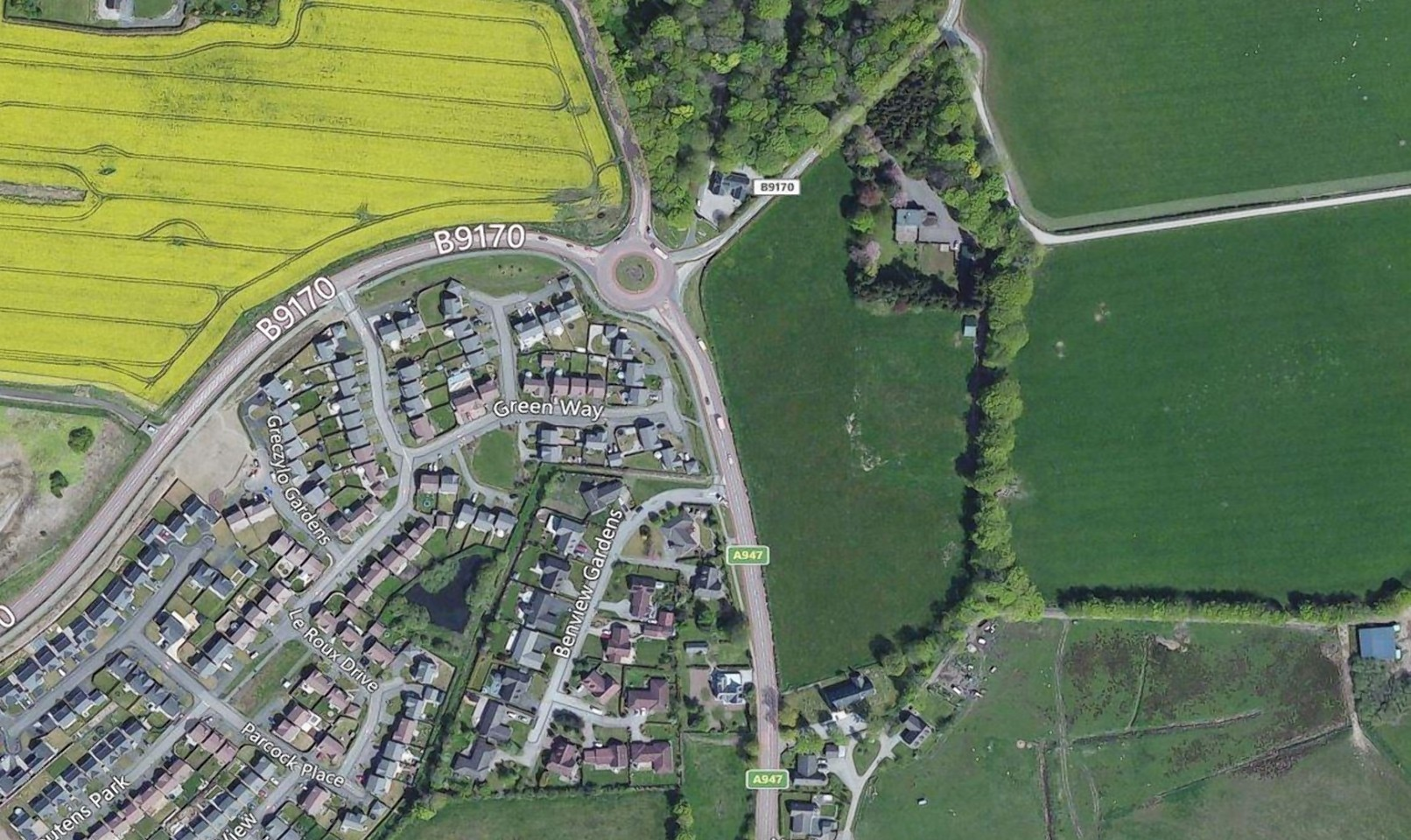 An aerial view of the site where the interchange near Oldmeldrum could go