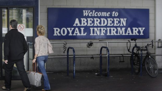 The woman was rushed to Aberdeen Royal Infirmary
