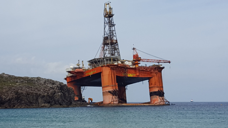 The Transocean Winner drilling rig was stranded on the beach of Dalmore, on Lewis