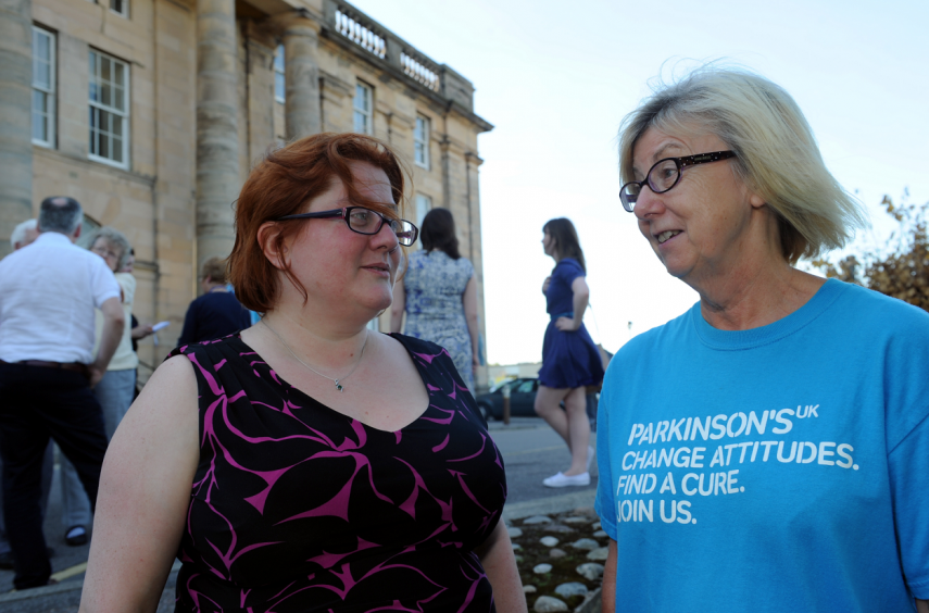 Parkinson's crisis at Dr Gray's Hospital, Elgin. Tanith Muller from charity Parkinson's UK, left, and local campaigner Gillian Gibson, right. Picture by Gordon Lennox.