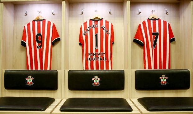 Premier Punt shirts hang in St Mary's dressing room