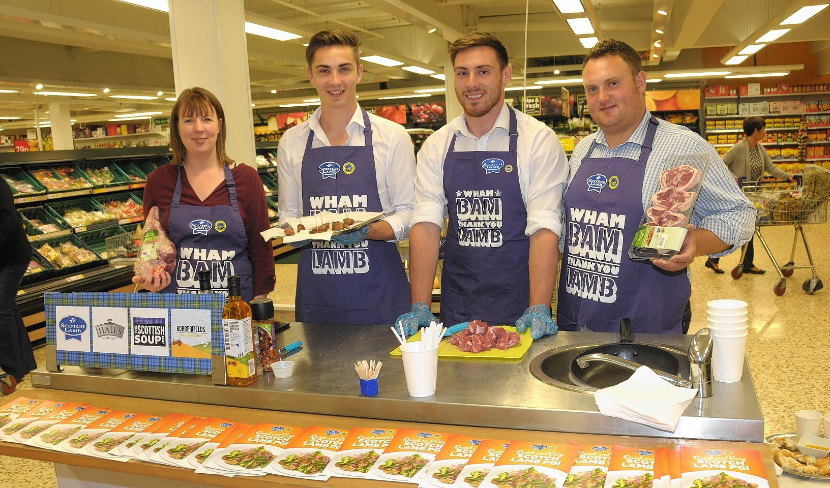 Ross (right) and Kirsty Williams join the QMS Scotch Lamb sampling team