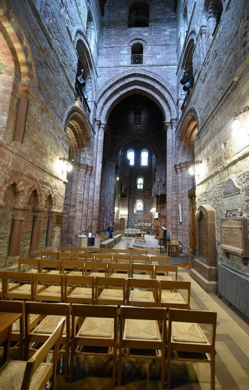 The interior of St Magnus Cathedral in Kirkwall