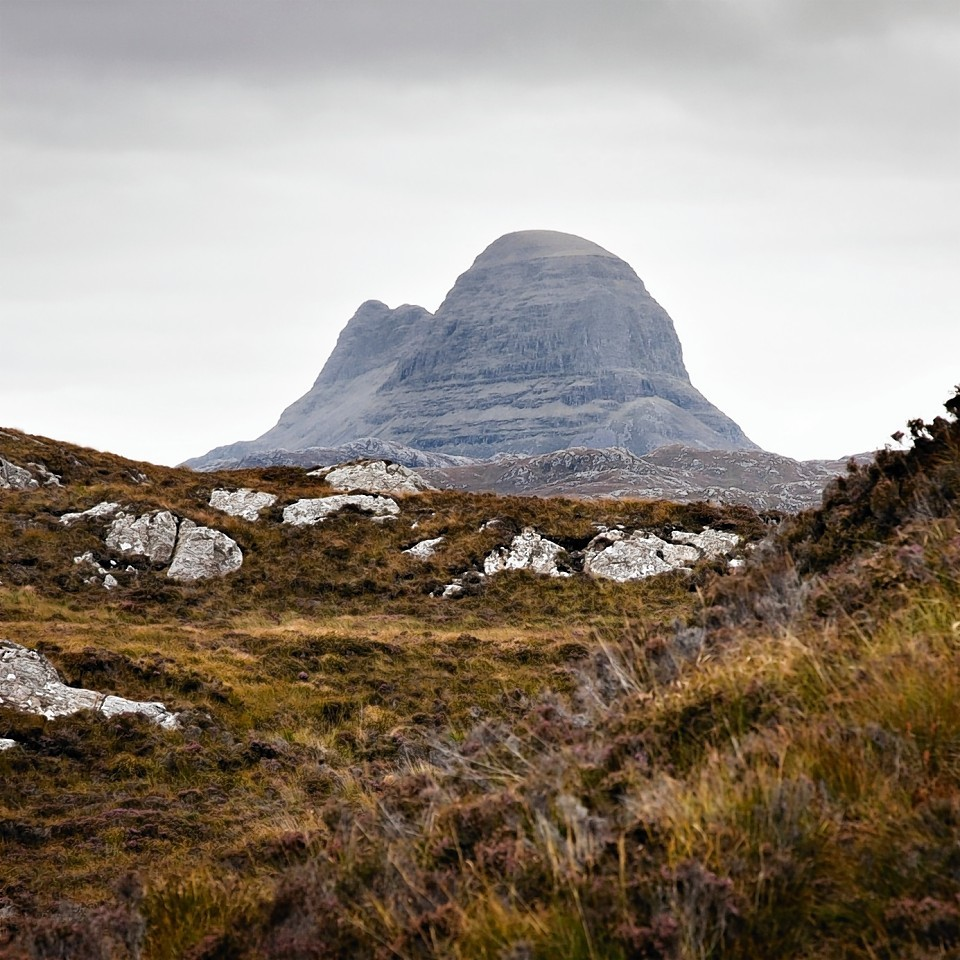 The distinctive outline of Suilven in Assynt.