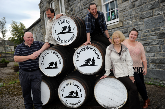 The Smugglers Hostel, Tomintoul is now owned by the community. L-R:  Mark Finnie, Justin Livesey, Phil McManus, Jennifer Stewart, and Jocelyn Evans. Picture by Gordon Lennox.