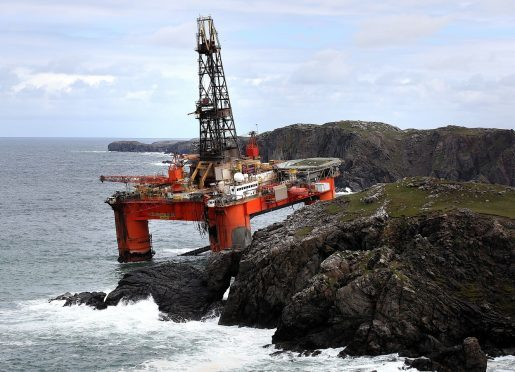 The Transocean Winner oil rig was on the rocks at Dalmore beach, near Carloway