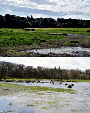 After and before: top picture shows the wetlands today. Bottom shows it in April before the project commenced