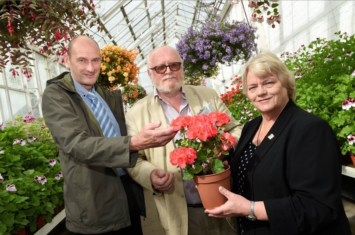 Beautiful Scotland in Bloom judges Andrew Hogarth and Stan De Prato looking round Aberdeen Winter Gardens with councillor Jean Morrison, Aberdeen City Council CHI vice convener, as part of a tour of the city.  Picture by KEVIN EMSLIE