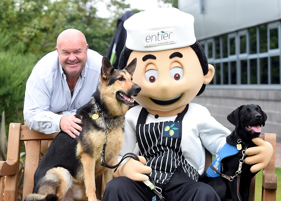 From left: CEO, Peter Bruce, Nelson, mascot Oliver and trainee, Scout.
