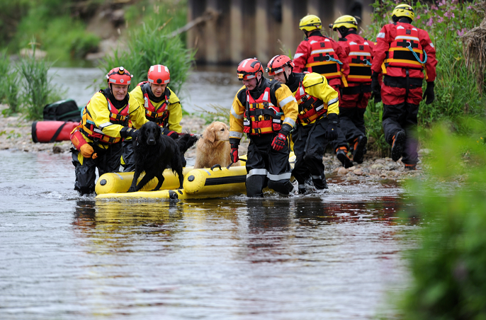 A man was stranded with his two dogs near the bridge at Port Elphinstone and was rescued by emergency services.