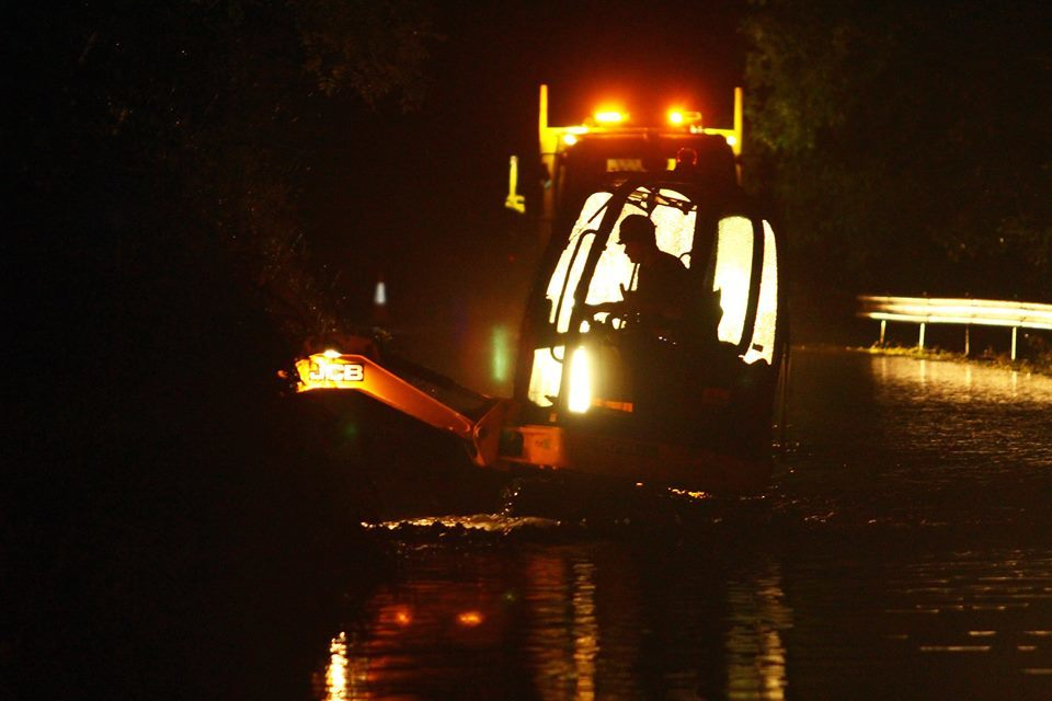 Workers are on through the night trying to clear A85 flooding