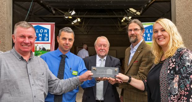 Colin Grieve of Ellon Mens Shed with Stuart Wright, Asda, Councilor Rob Merson Ellon District,Jason Schroeder, Chaiman of the Scottish Mens Sheds and Jo Phillips of the RVS