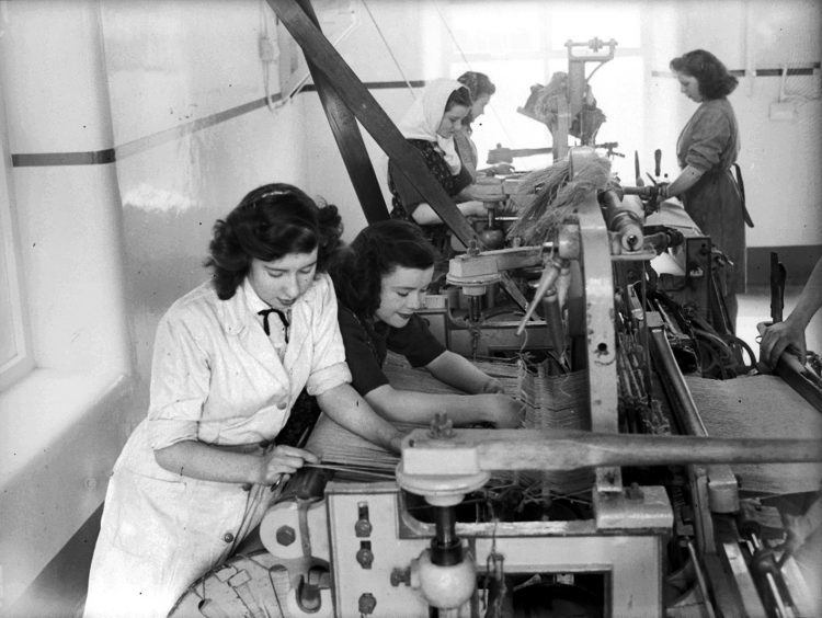 Weaving at Broadford Works in 1949.