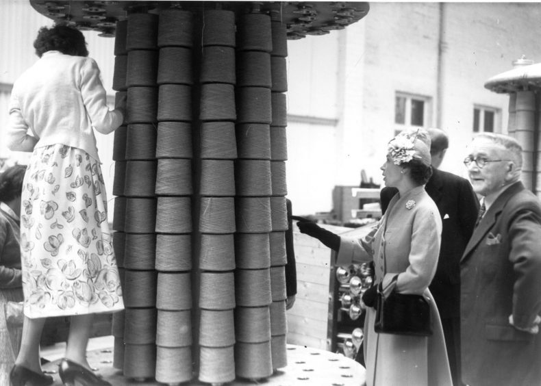 The Queen tours Richard Ltd's Broadford Works on Maberly Street, Aberdeen, August 1955.