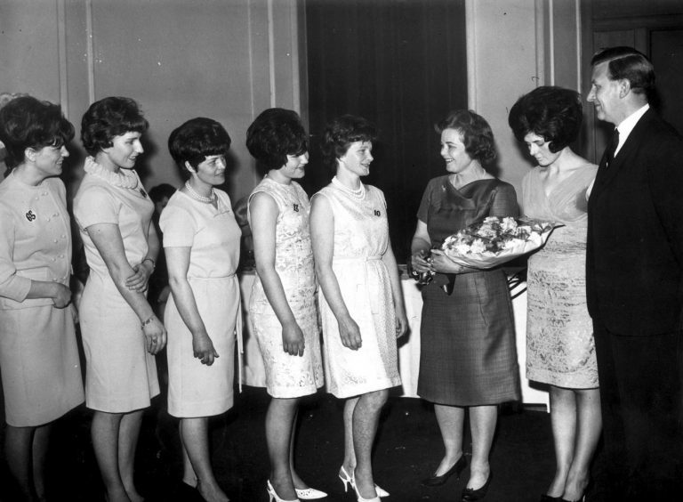 A line-up of winners in two personality contests held at Richards Ltd.,  Broadford Works, in 1966. They are (from left) Margaret Burr and Elspet Black, who won a trip to London.