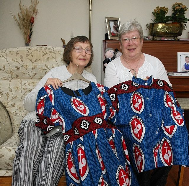 June Cairns (left) and the Rev Morag Muirhead with their African clothing