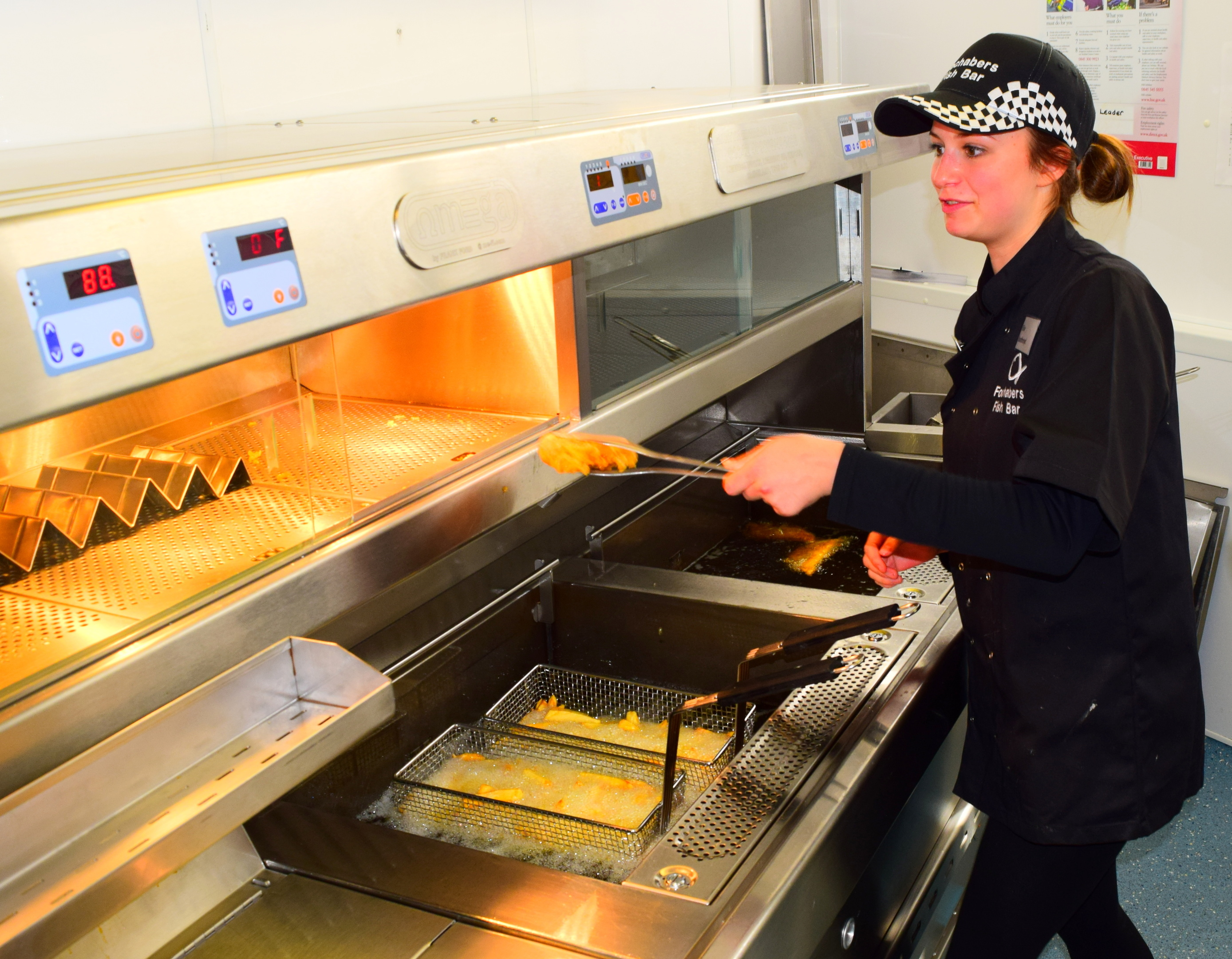 Elise Boothroyd preparing another fish supper at the Fochabers Fish Bar.