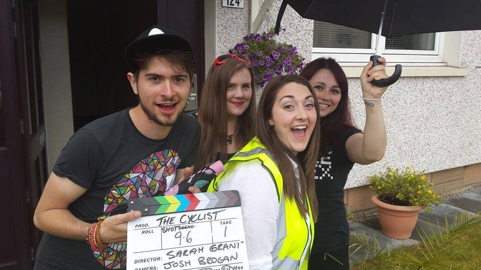 Malcolm Rumbles, Helen Young (in yellow), Lee Colgan and Morgane Cadot on the set of The Cyclist.
