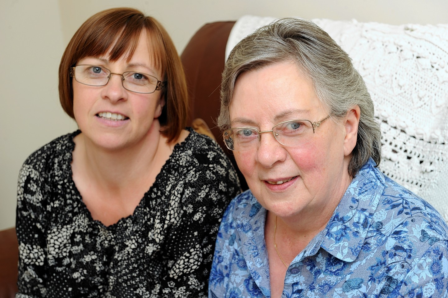 Maryan Whyte, right, with her eldest daughter, Sharon Robertson, left, at her home in Forres,