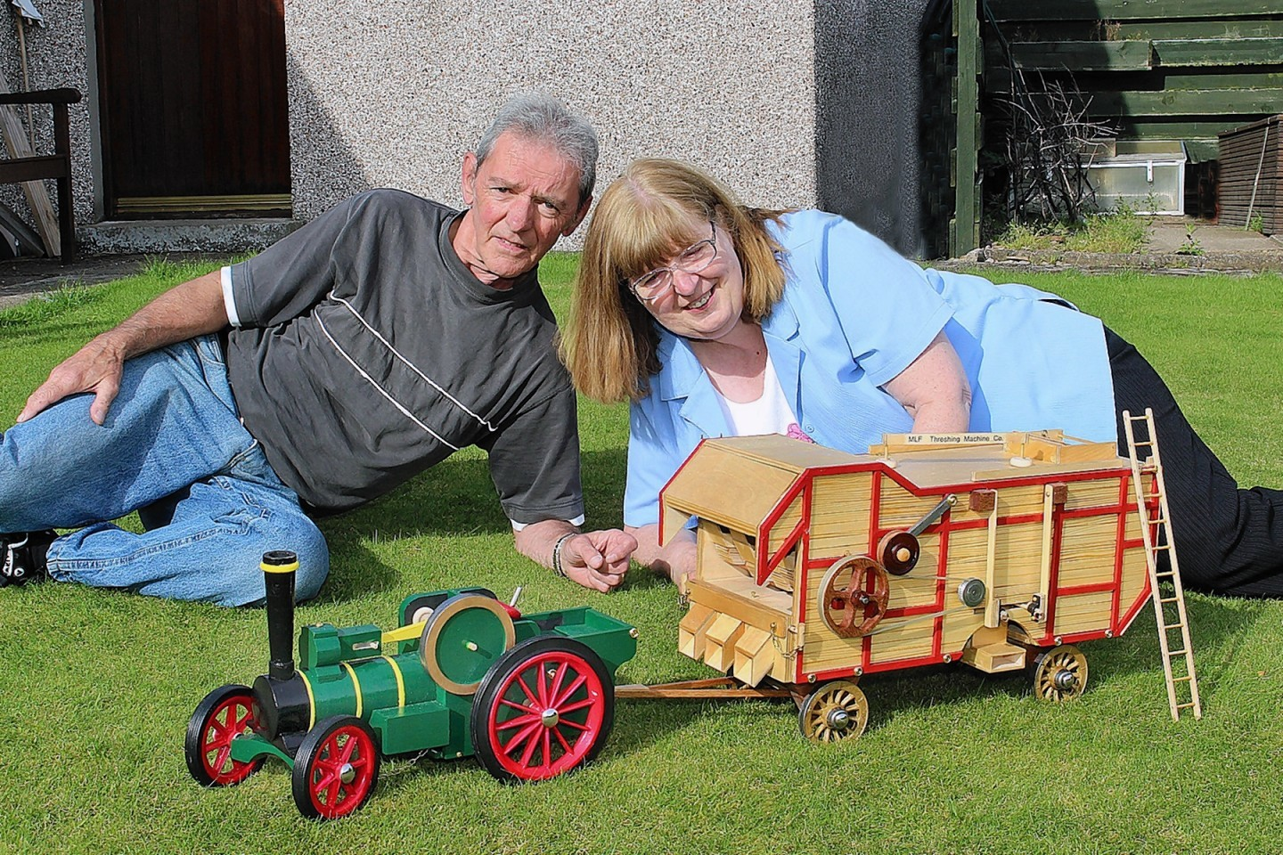Mike and Leona Foote with the model machinery
