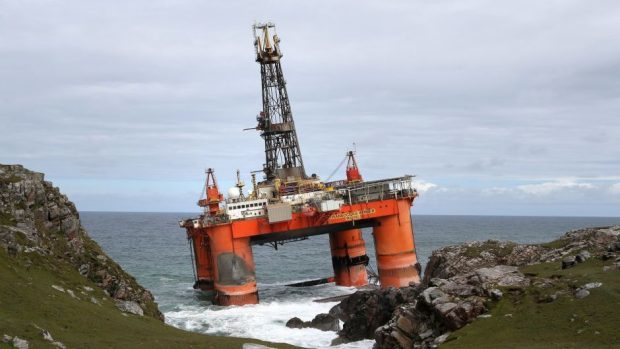 The Transocean Winner grounded at Dalmore Bay on Lewis in August