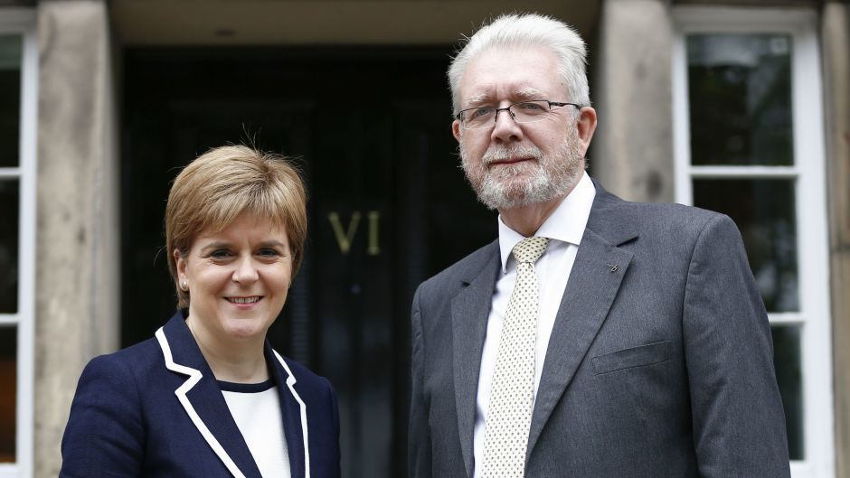 Nicola Sturgeon and SNP veteran Michael Russell