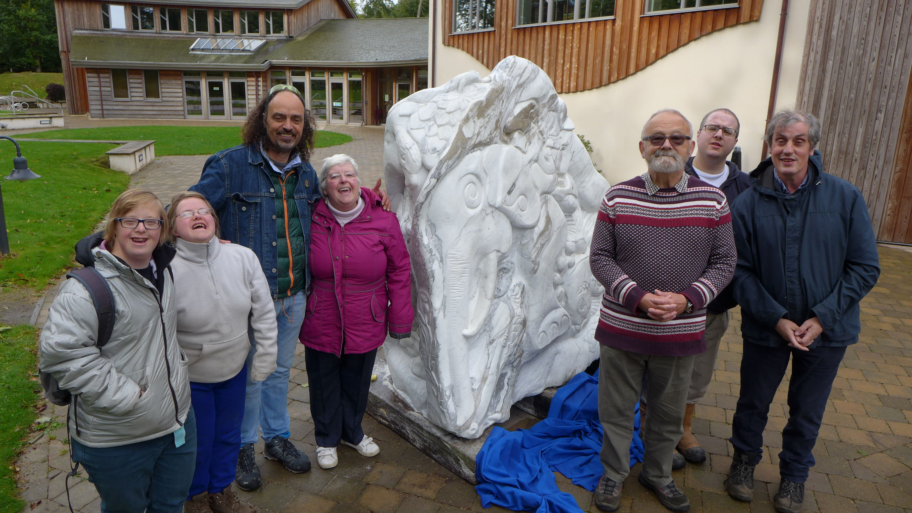 Newton Dee celebrated the completion of its latest community sculpture. From left to right: Stephanie Salvsen, Katy Fusco, sculptor Albertino Costa, Linda Esson, Spencer Barthorpe, David Page and Mark Hughes