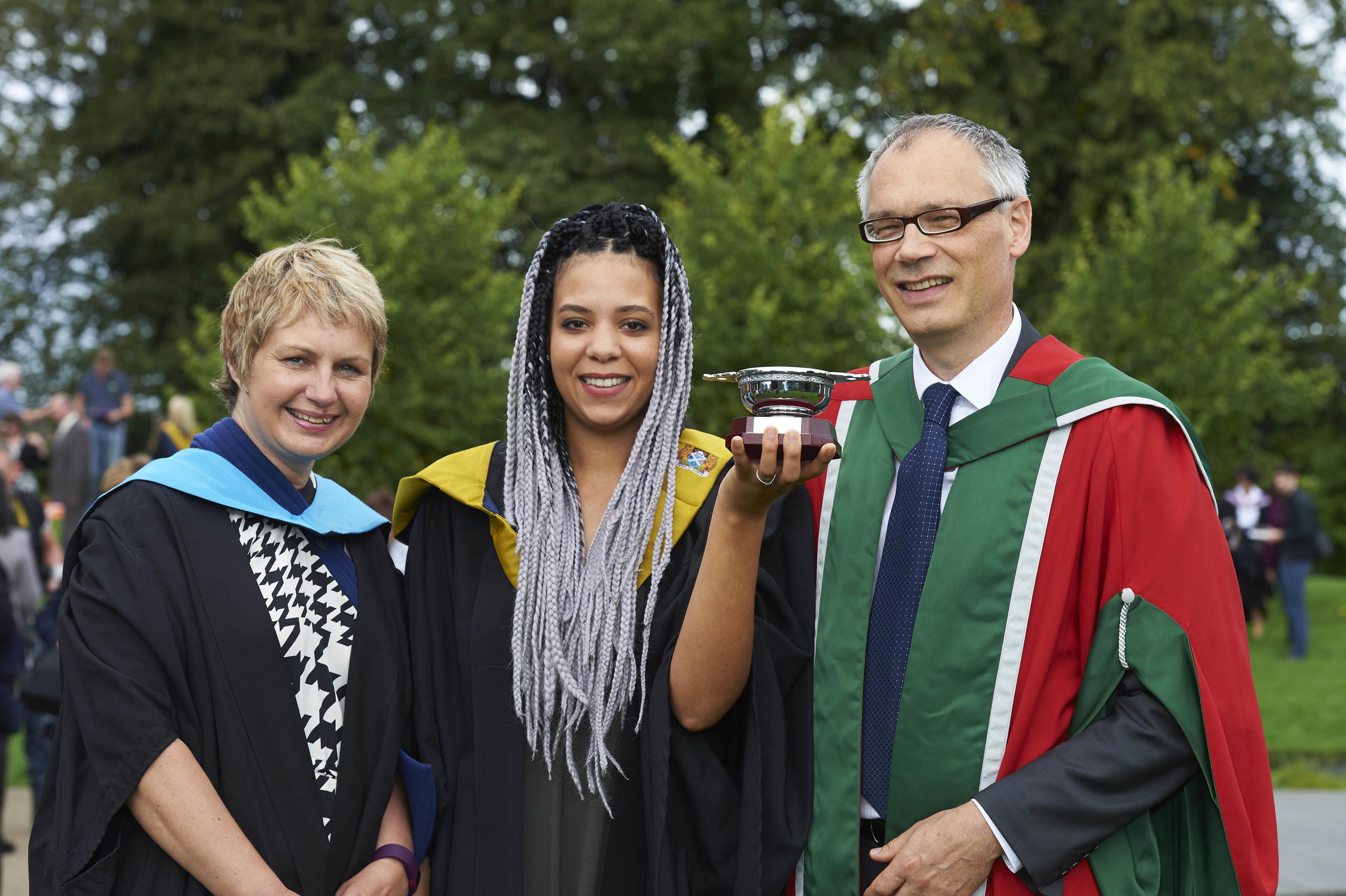Rita Yost (centre) with Wilma MacDonald and Professor Hugo van Woerden