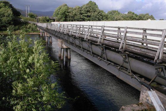 Soldiers' Bridge footbridge over the River Lochy in Lochaber