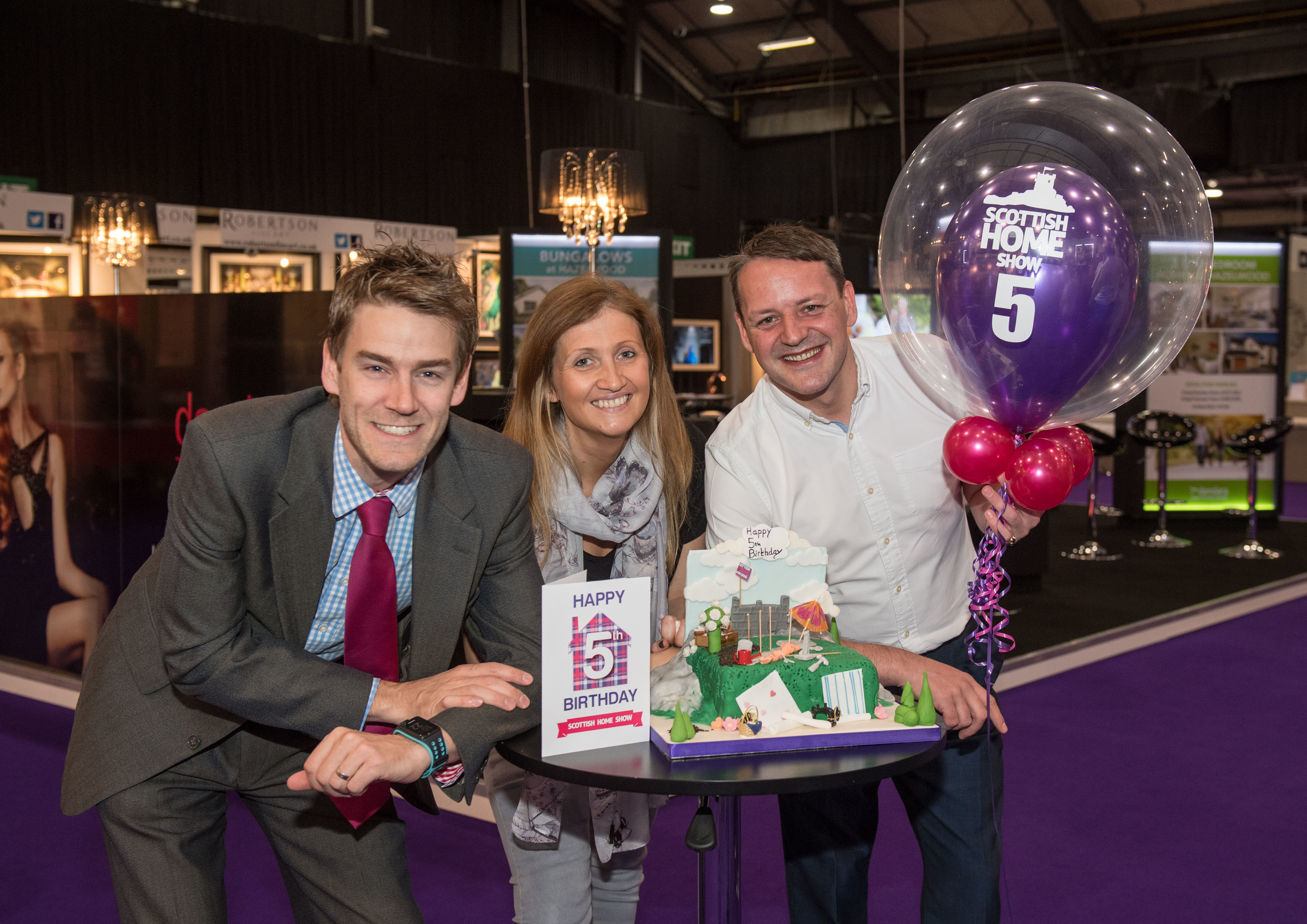 Photo (left to right): Peter Best, Sales Manager, Dandara; Anna MacKenzie, Senior Sales Manager at Aberdeen Exhibition and Conference Centre; Darren Ross, Director at Scottish Home Show.  Picture by Michal Wachucik / Abermedia