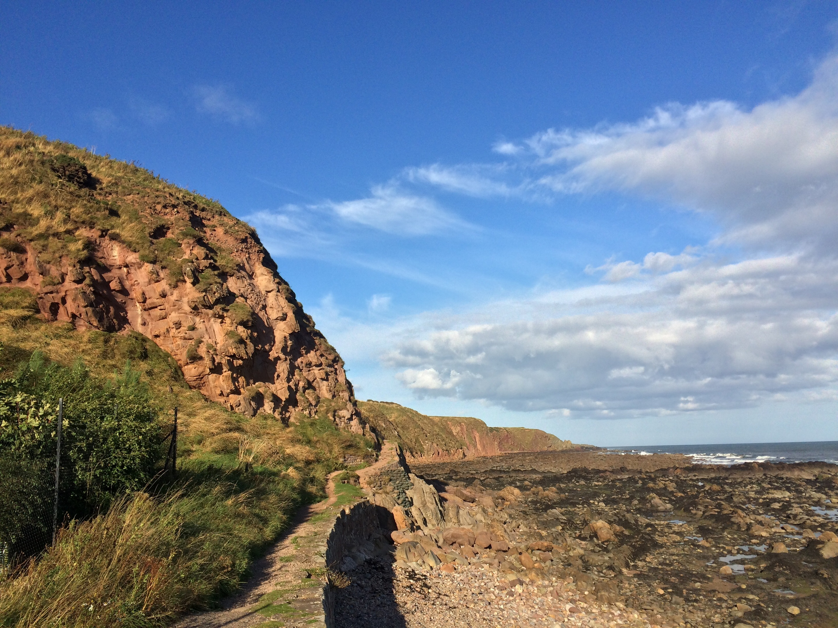 The spot on the coastal path near Cowie where the woman fell