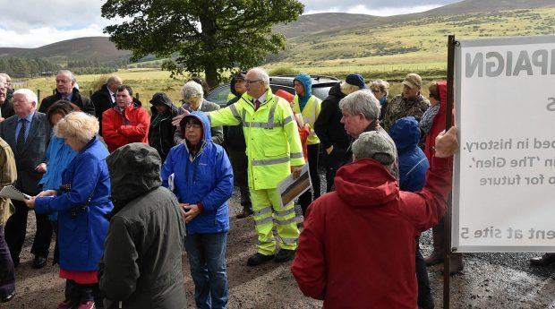 Protesters at the Tomatin Sub Station site visit.