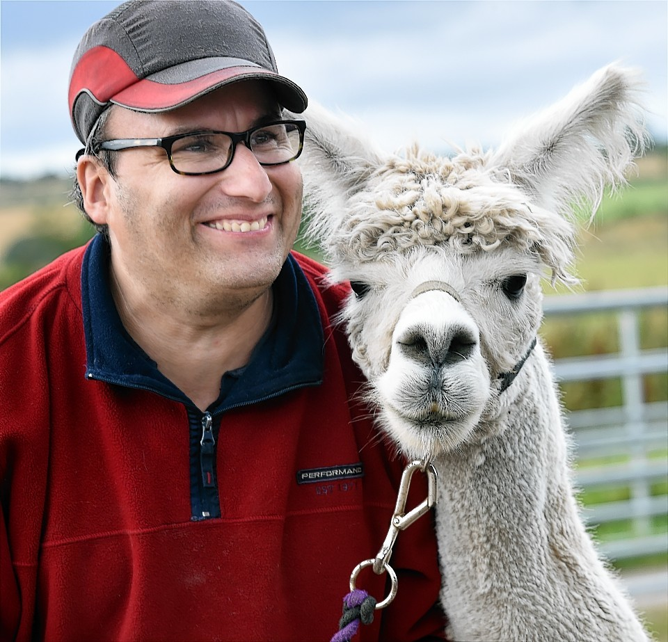 Trainee Grant Rowson with one of their alpaca launching VSA's adopt an animal scheme at it's Easter Anguston Farm. Picture by KEVIN EMSLIE
