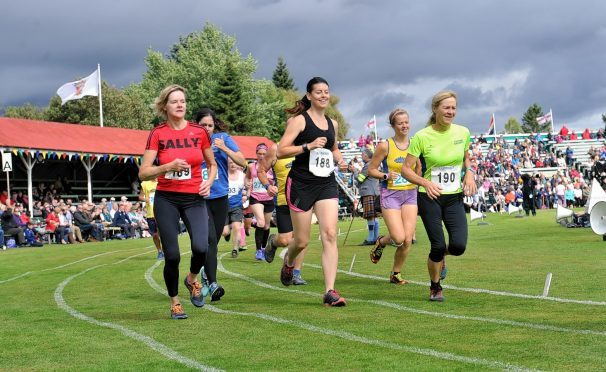 Hill runners at the Braemar Highland Games.