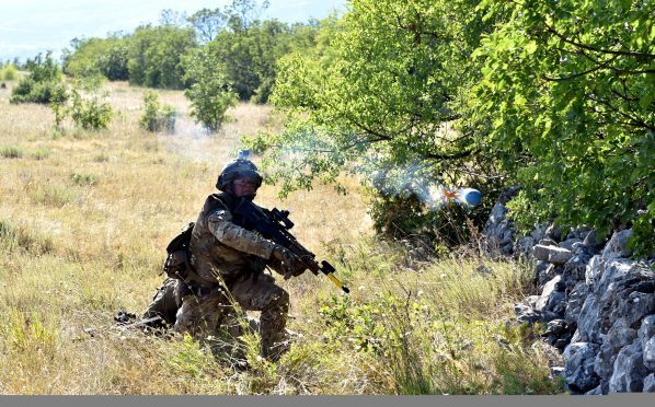 7 SCOTS on a patrol exercise attacking an enemy position.     Picture by Kami Thomson
