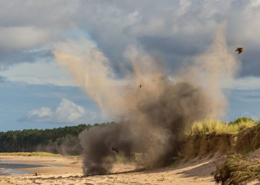 The controlled explosion carried out a week ago at Kingsteps, Nairn East Beach
