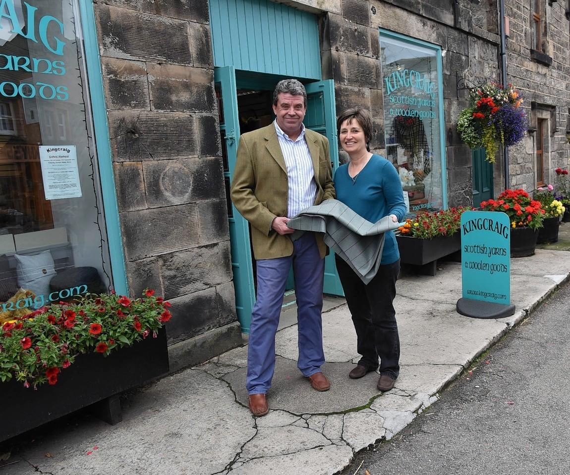 Shaun and Pat Ashe at Kincraig Fabrics, Brora.